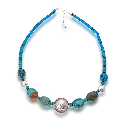 Turquoise Silver Bead Necklace