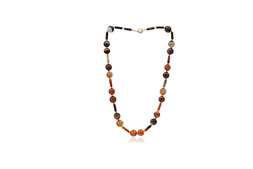 9K Gold Agate Ball Bar Necklace