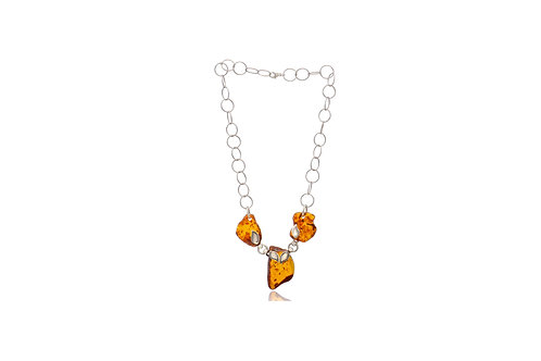 Sterling Silver Natural Amber Necklace