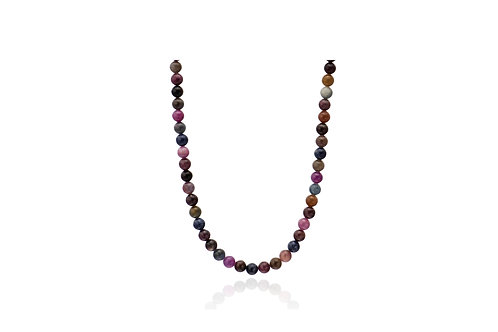 Sterling Silver Natural Sapphire Ball Mix colour Necklace
