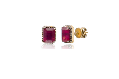 Sterling Silver Yellow Gold Plated Diamond Ruby Oblong Stud Earrings