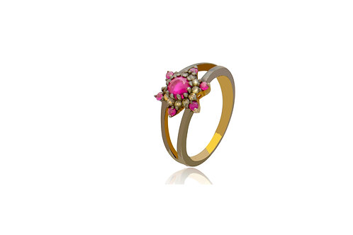 Sterling Silver Gold Plated Ruby Diamond Ring