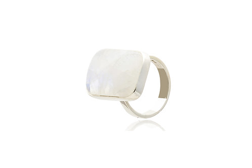 Sterling Silver Moonstone Oblong Ring