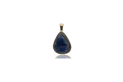 Sterling Silver Gold Plated Sapphire Black Diamond Teardrop Pendant