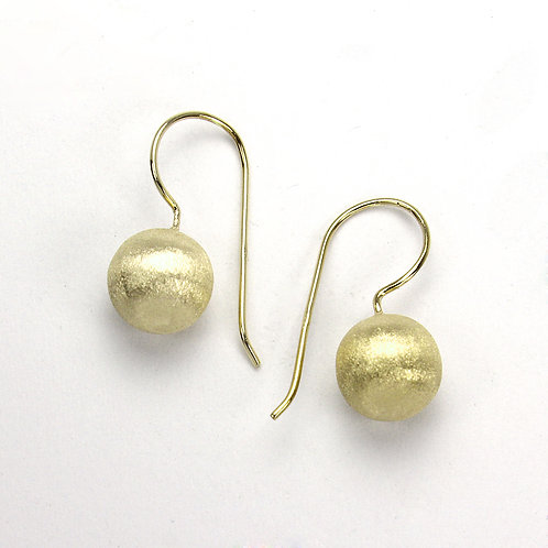 Matt Yellow Gold Ball Dangle Earrings