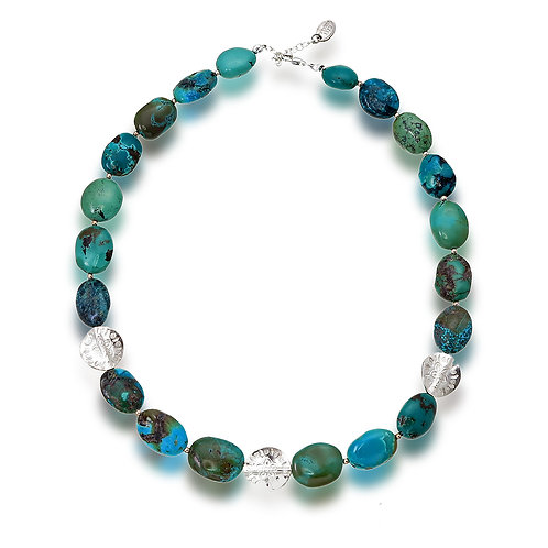 Turquoise Three Silver Bead Necklace