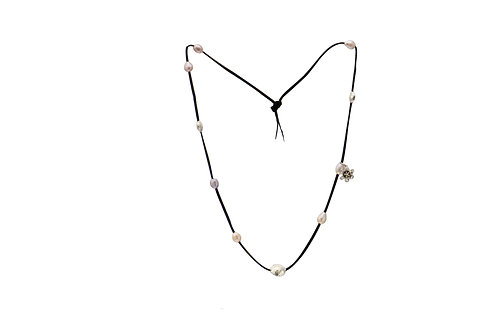 Sterling Silver Mix Colour Pearl Charm Suede Necklace
