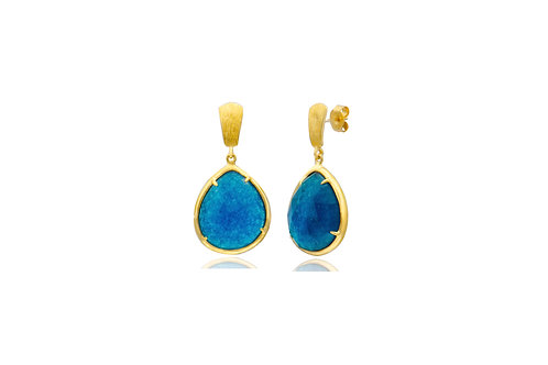 Sterling Silver Blue Topaz Green Amethyst Peridot Earrings