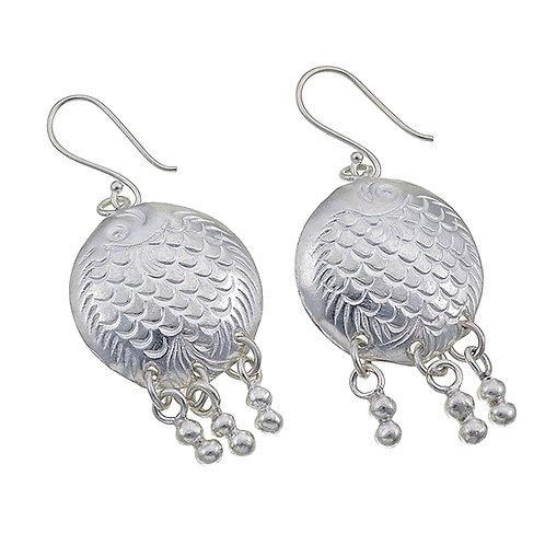 Karen Silver Fish Earrings