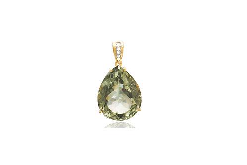 18K Gold Green Amethyst 5 Diamond Pendant