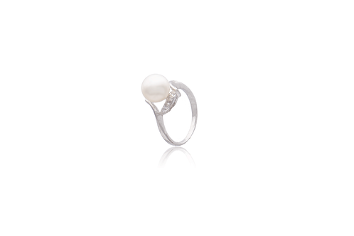 Sterling Silver Cubic Zirconia White Fresh Water Pearl Ring