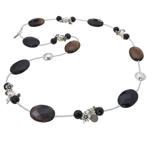 Black Onyx with Karen Silver Bead Necklace