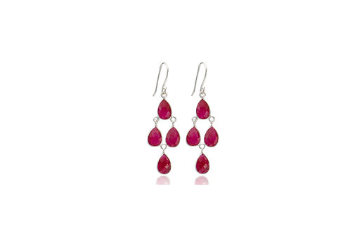 Sterling Silver Ruby Tear Drop Diamond Shape Earrings