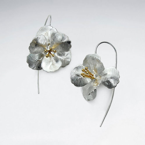 Hibiscus Flower Earrings -Brushed Silver with Gold Plated Pollen Sac