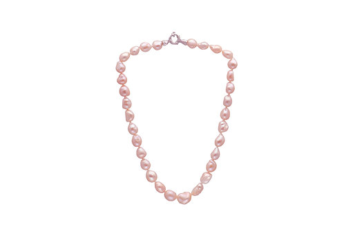 Sterling Silver Peach Fresh Water Pearl Irregular Necklace