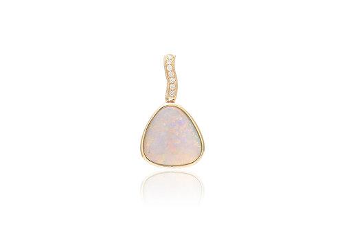 14K Gold Diamond Black Opal Irregular Pendat