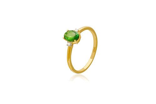 18K Gold Diamond Green Tourmaline Oval Ring