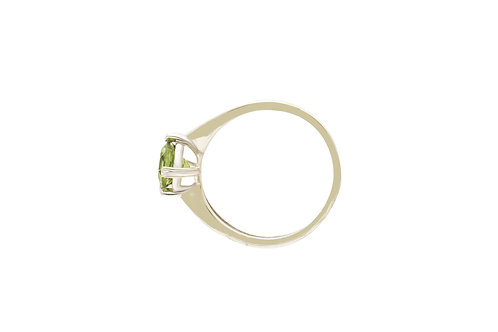 Sterling Silver Peridot Round Ring