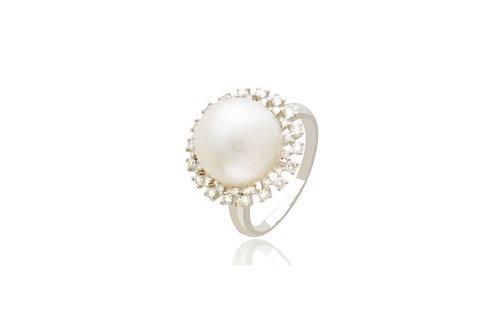 18K White Gold 36 Diamond White South Sea Pearl Round Ring
