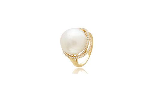 18K Gold White South Sea Pearl Round Diamond Ring