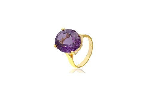 9K Yellow Gold Amethyst Oval Ring