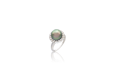 Sterling Silver Grey South Sea Pearl Cubic Zirconia Ring