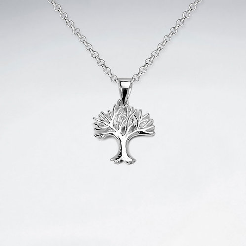 Sterling Silver Matt Tree Pendant with Chain