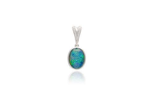 Sterling Silver Oval Triplet Opal Pendant