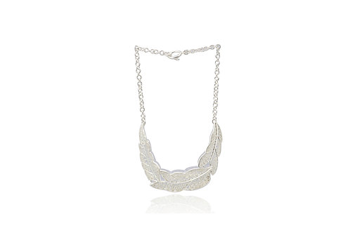 Mexican Silver Filigree Leaf Necklace