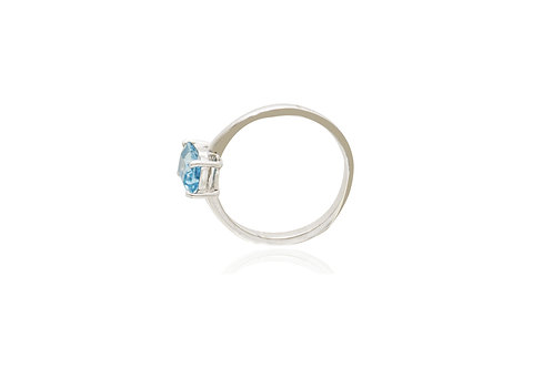 Sterling Silver Swiss Blue Topaz Rectangle Ring