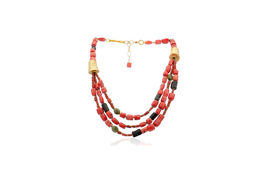 Sterling Silver Gold Plated Coral Jade Tourmaline 3 String Necklace