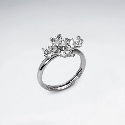 Silver Flower Cluster Ring