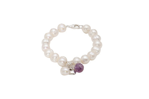 Sterling Silver White Fresh Water Pearl With Charm Bracelet