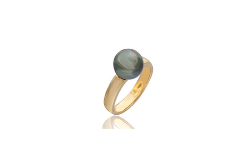 18K Gold Black South Sea Pearl Ring