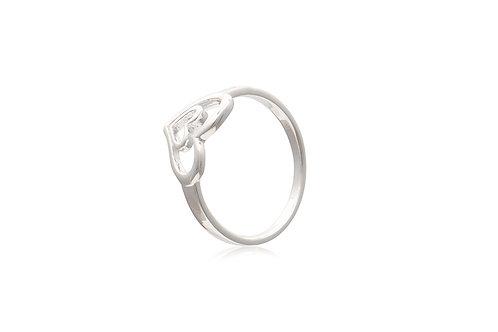 Sterling Silver Open Heart in Heart Ring