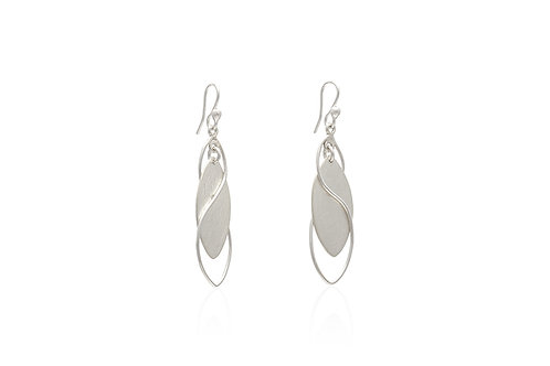 Marquise Mexican Silver Leaf and Vines Earrings