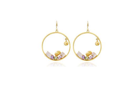 Sterling Silver Gold Plated Rose Quartz Amethyst Garden Hoop Earrings
