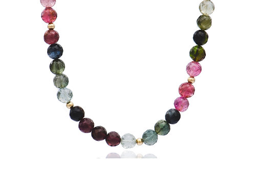 9K Gold Tourmaline Ball Necklace