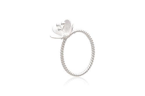Sterling Silver Matte Flower Twist Ring