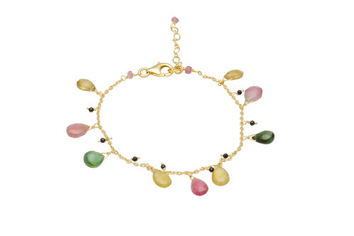 Sterling Silver Yellow Gold Plated Tourmaline Spinel Bracelet