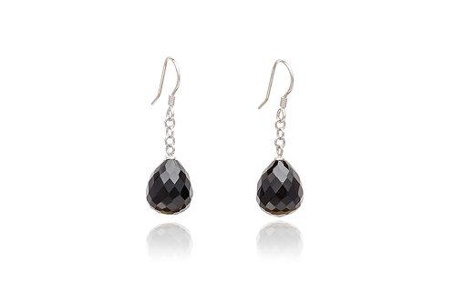 Sterling Silver Onyx Teardrop Earrings