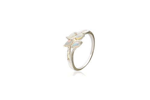 Sterling Silver Solid Opal Ring