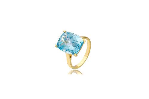 9K Gold Blue Topaz Oblong Ring