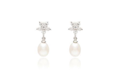 Cubic Zirconia Flower Earrings with Pearl