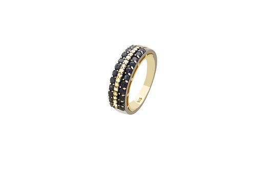 Sterling Silver Gold Plated Diamond Sapphire Ring
