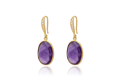 Amethyst Earrings with Cubic Zirconia
