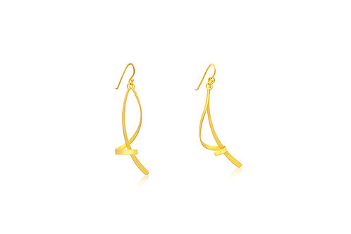 Silver Gold-Plated Stick with Swirl Earrings