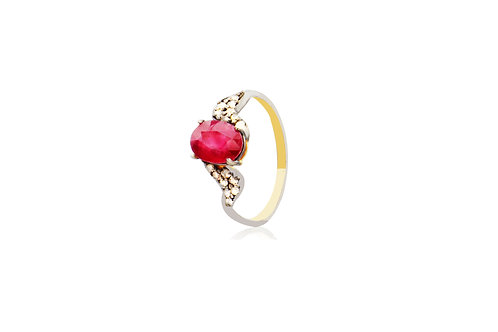 Sterling Silver Gold Plated Ruby Diamond Oval Ring