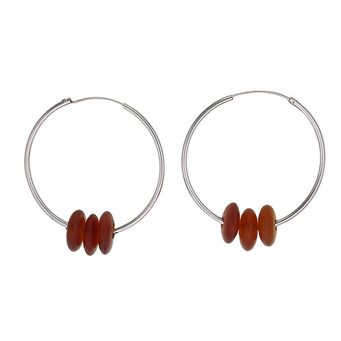 Horn Bead Hoop Earrings