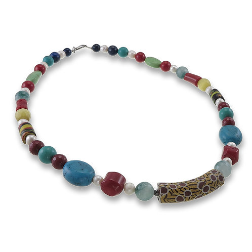 Handmade Natural Stone Necklace with Trade Beads
